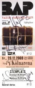 26. Dezember 2008: signierte Eintrittskarte, KölnArena