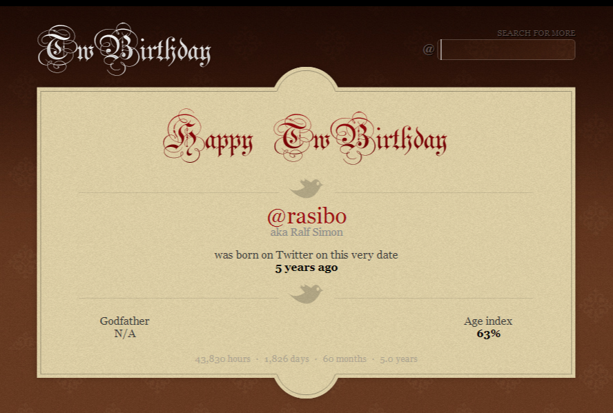 TwBirthday: @rasibo was born on Twitter on this very date 5 years ago.