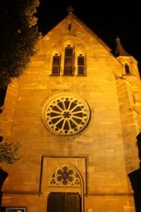 Die Klosterkapelle in der Nachtbeleuchtung.