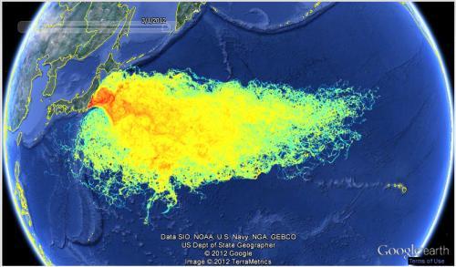 Verbreitung des radioaktiv verseuchten Pazifikwassers nach der Tsunami-Reaktorkatastrophe in Fukushima