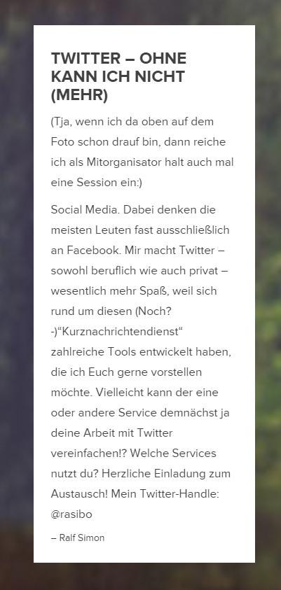 """Sessionvorschlag: """"Twitter – ohne kann ich nicht (mehr)"""""""