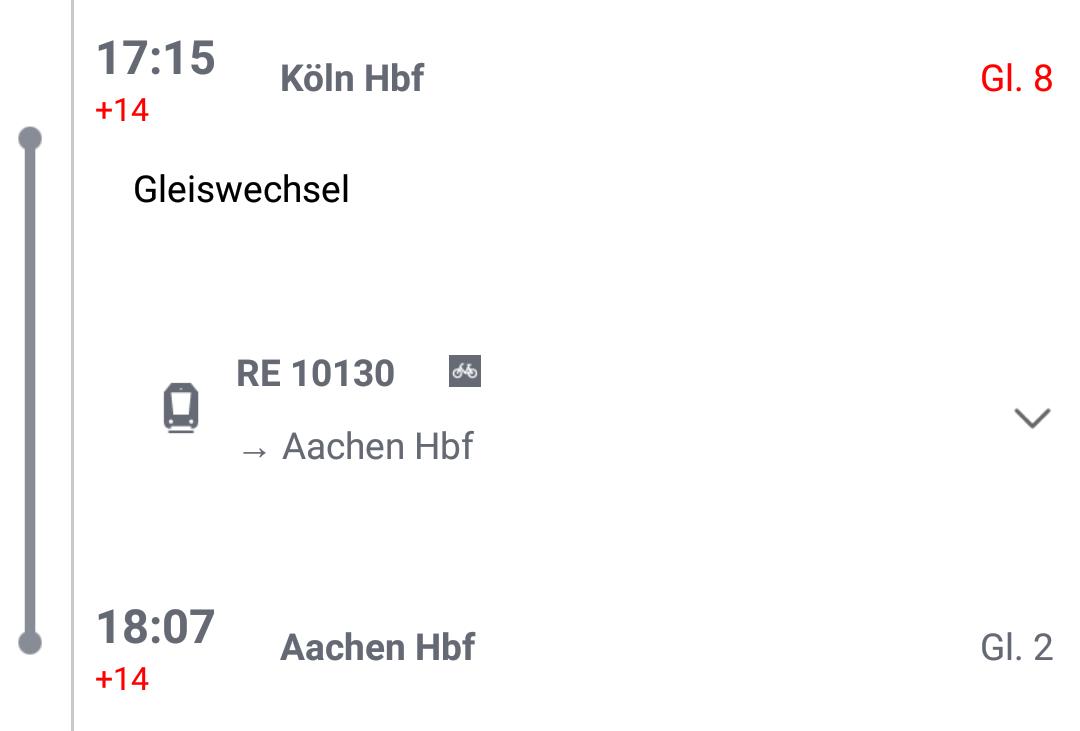 Köln - Aachen am 27.11.2016 (Ausschnit aus einem Screenshot des DB-Navigator)
