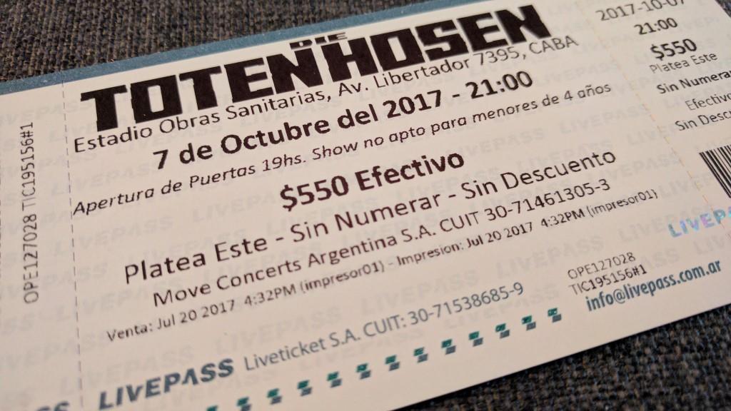 Die Toten Hosen: 7. Oktober 2017, Buenos Aires