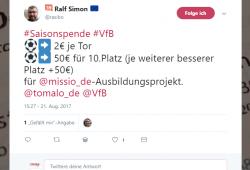 Saisonspende 2017/18 an missio Aachen je nach Erfolg des VfB Stuttgart