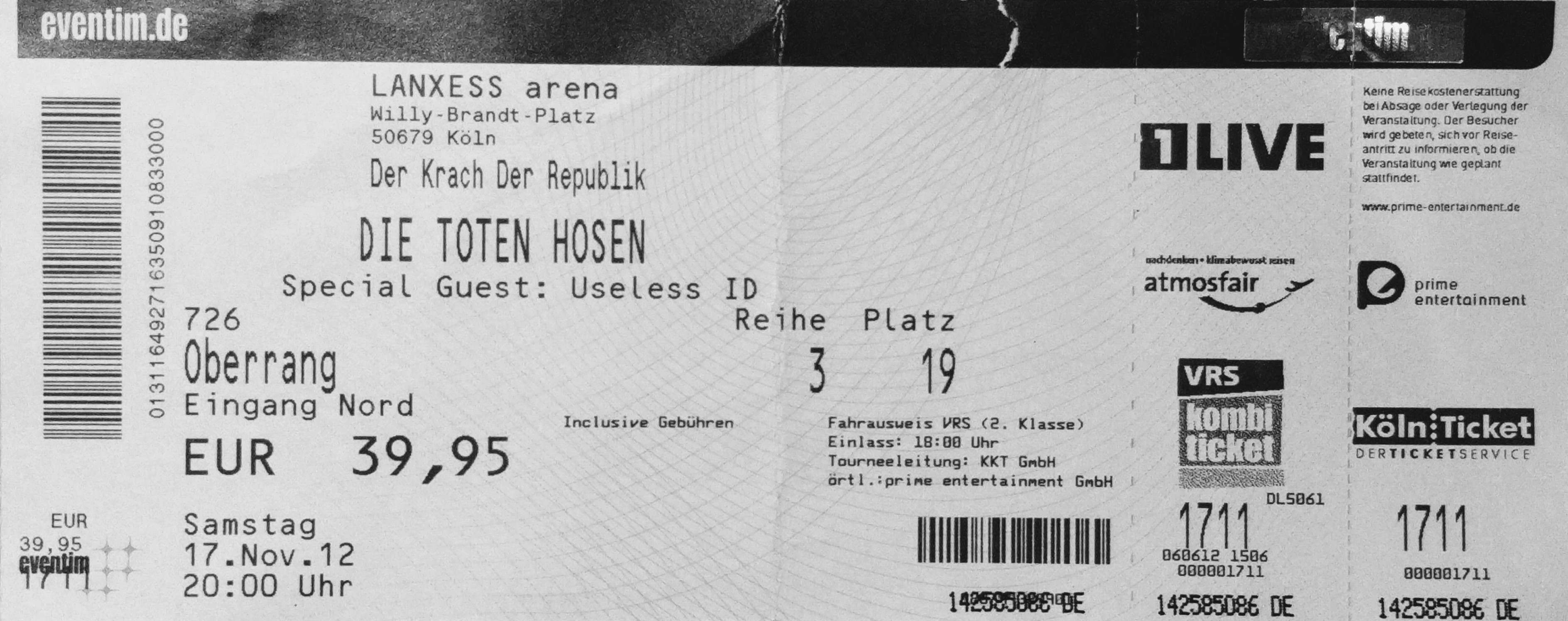 19. November 2012, Köln: Die Toten Hosen