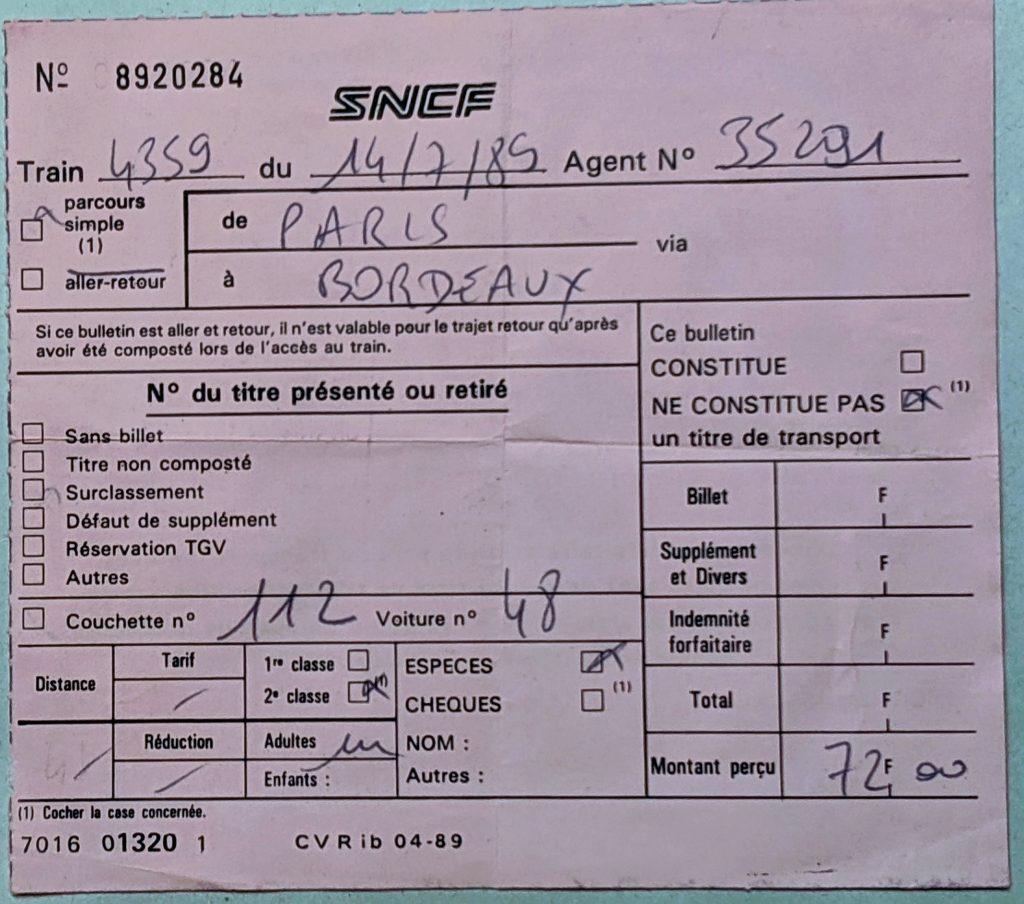 InterRail 1989: Liegewagenzuschlag Paris - Bordeaux