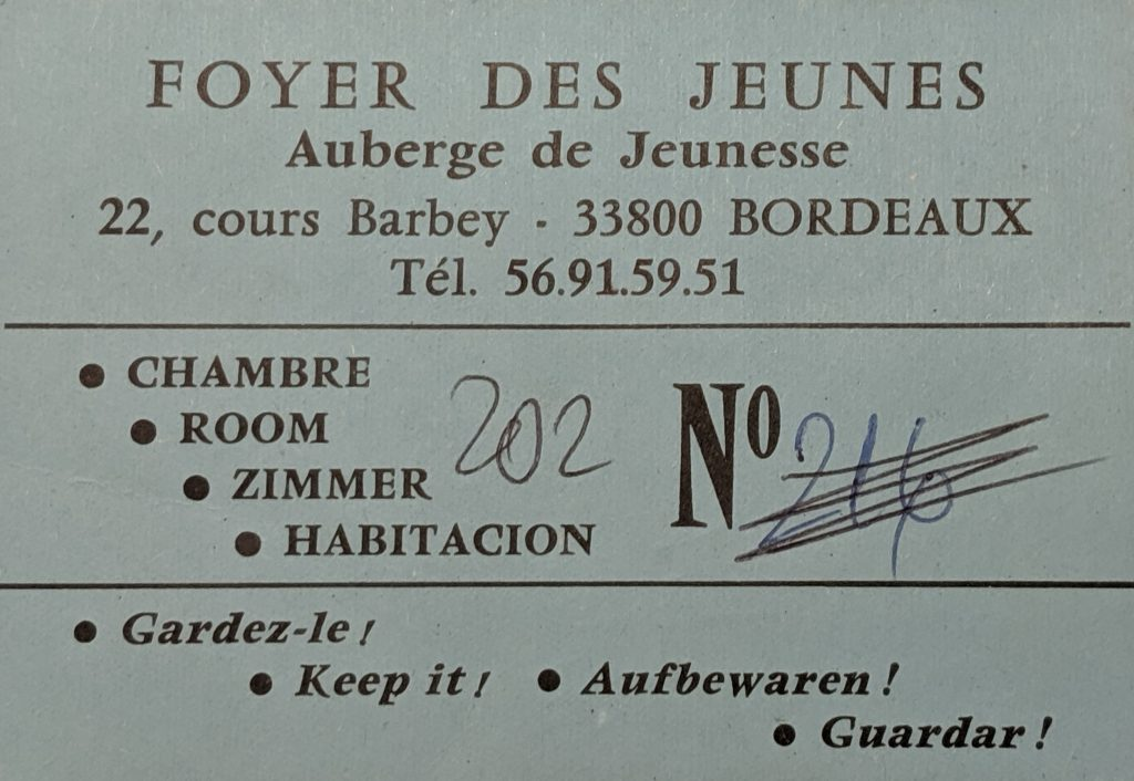 InterRail 1989: Jugendherberge Bordeaux