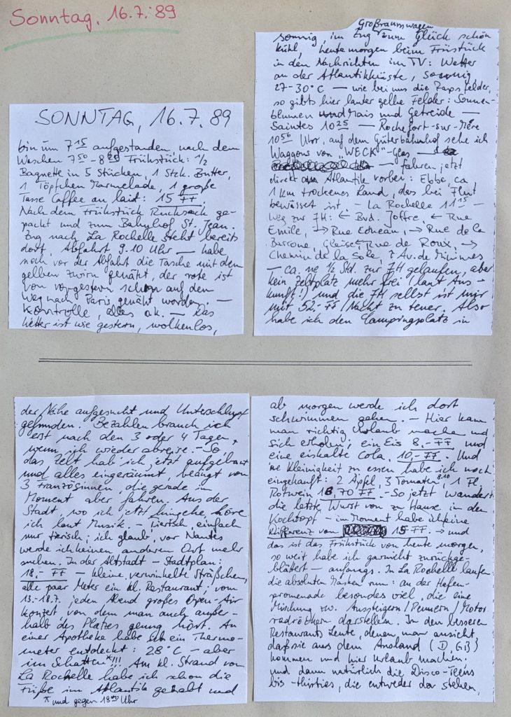 InterRail 1989: Tagebuch vom 16. Juli