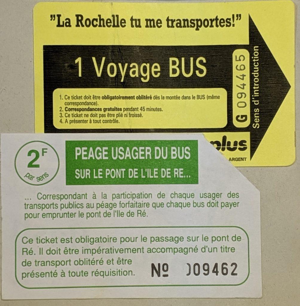 InterRail 1989: Bustickets aus La Rochelle