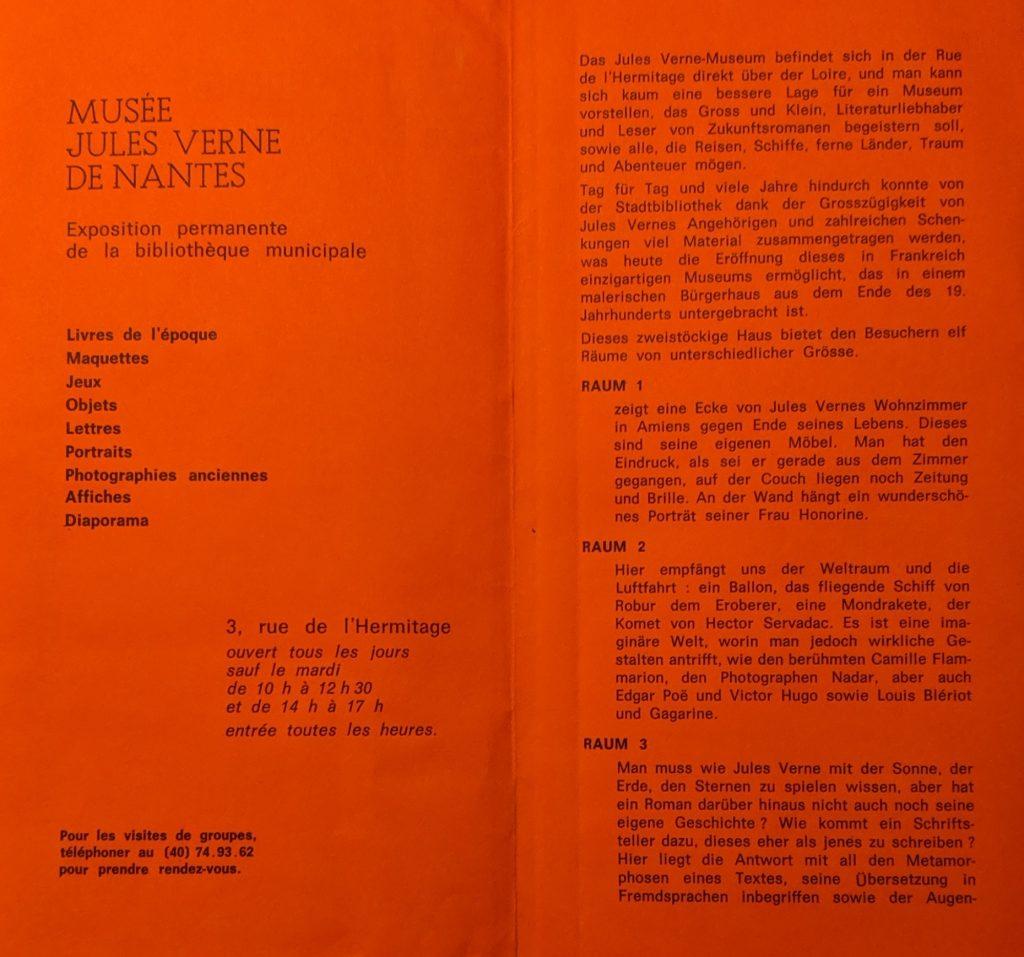 InterRail 1989: Aus dem Flyer-Guide des Jules-Verne-Museum in Nantes.