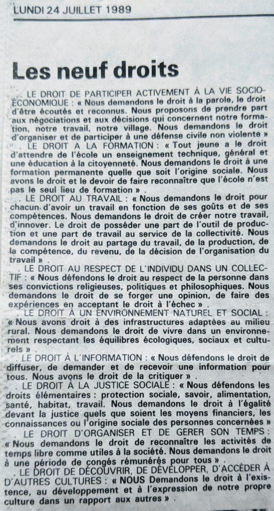 InterRail 1989: Press Ocean (Ausgabe vom 24. Juli) - Les neuf droits