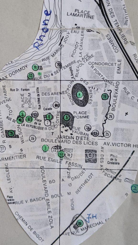 InterRail 1989: Arles (Stadtplan)