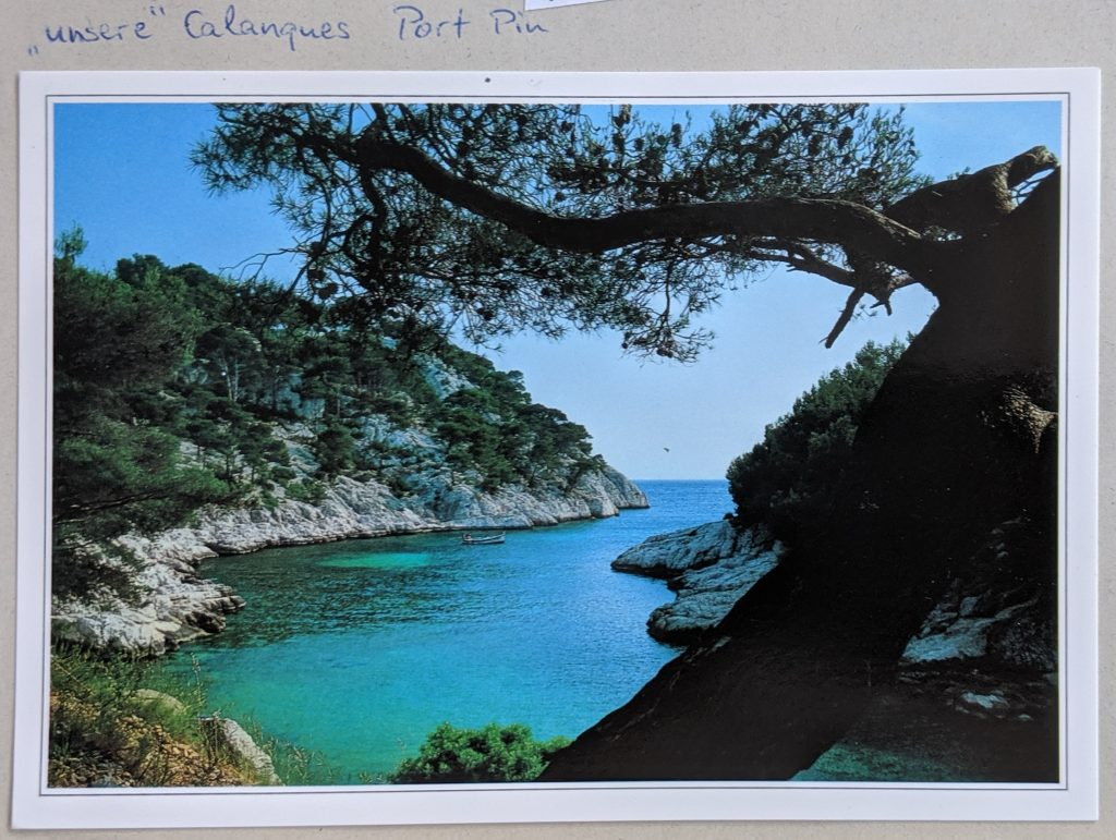 "InterRail 1989: Postkarte aus Cassis - ""Unsere Calanque Port Pin"""