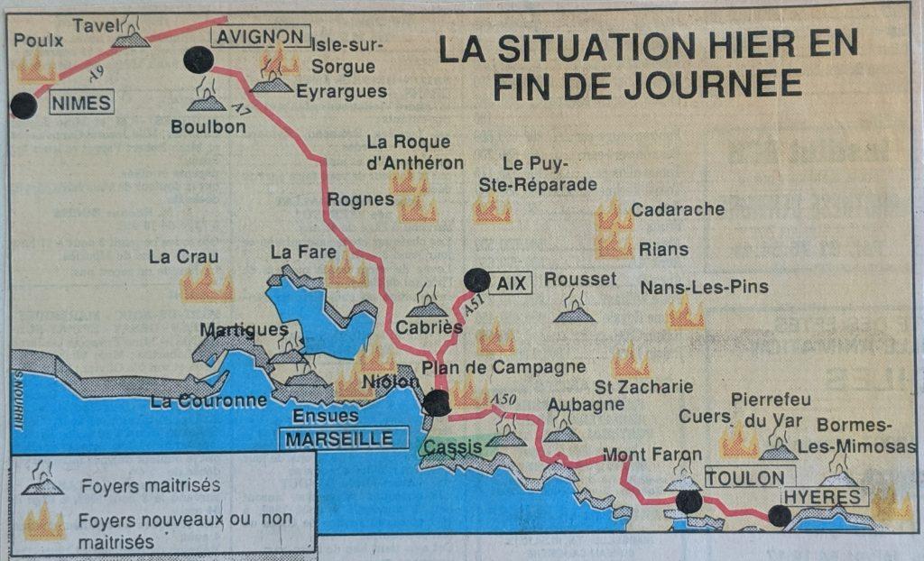 InterRail 1989: Eine Regionalzeitung informiert am 3. August über die Waldbrände (1)