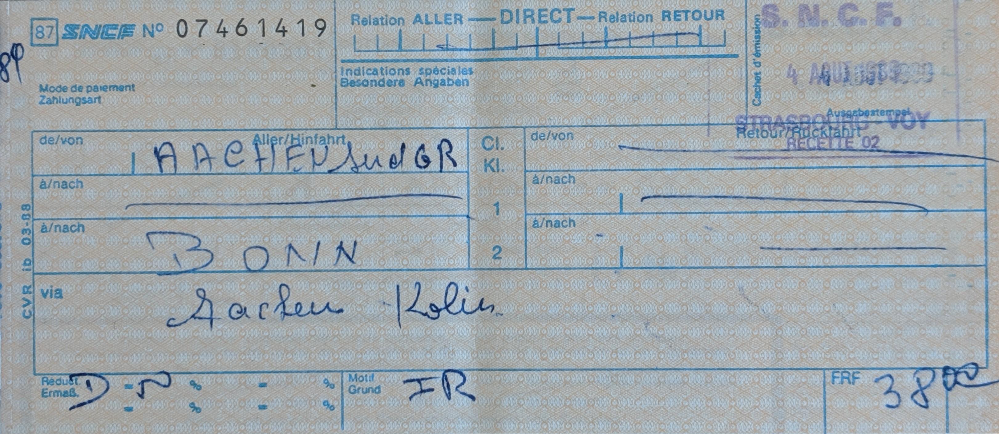 InterRail 1989: Bahnticket Aachen - Bonn