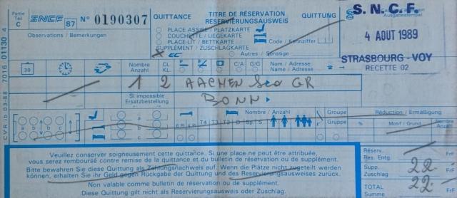 InterRail 1989: Bahnticket Aachen - Bonn (EC-Zuschlag)