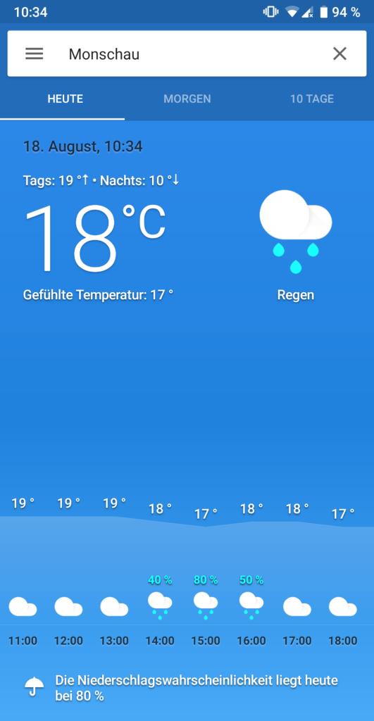 Das Wetter heute in Monschau