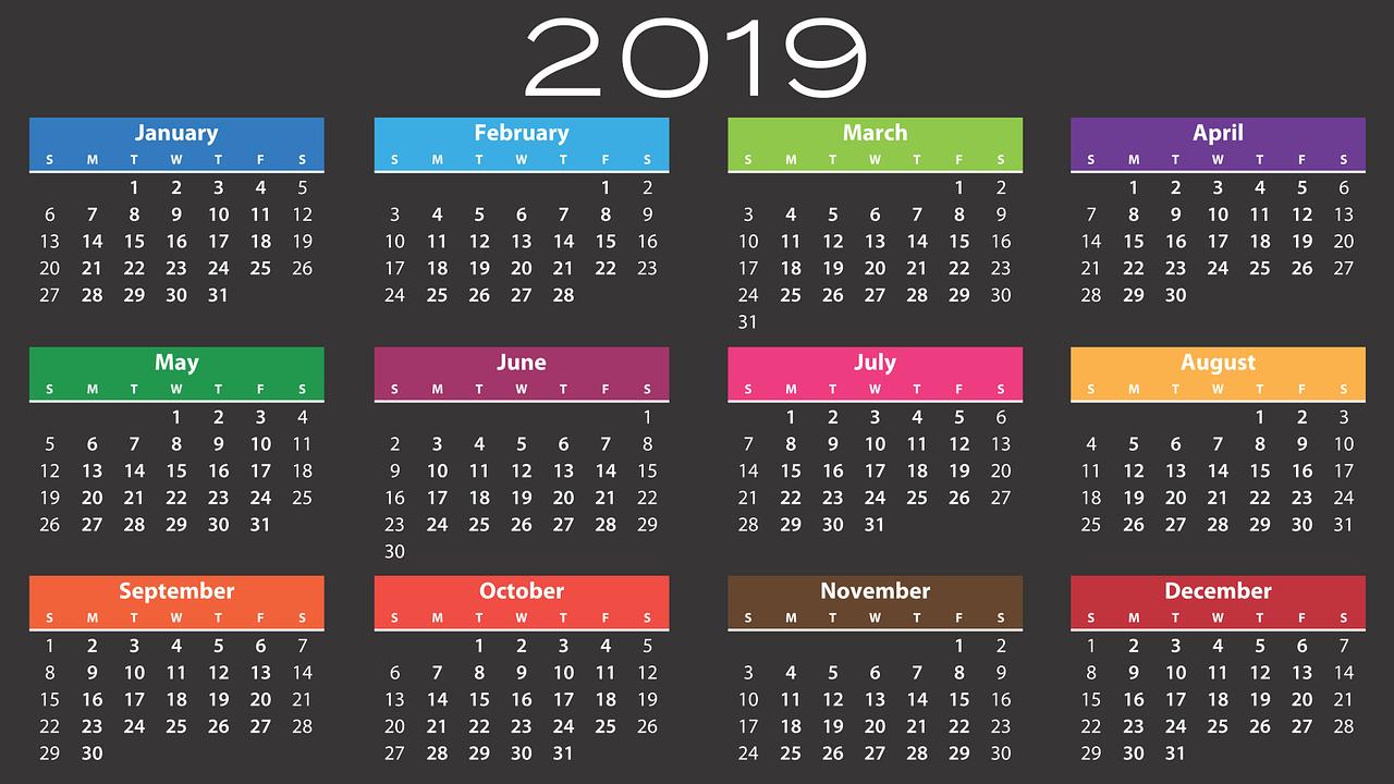 Kalender 2019 | Grafik: Mary Pahlke / Pixabay