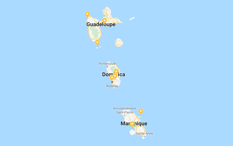 Die Kleinen Antillen mit Guadeloupe, Dominica und Martinique | Screenshot: Google Maps